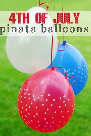 Red white and blue balloons filled with toys to be used as Patriotic Pinatas.