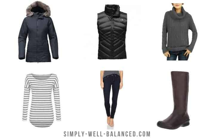 Sample women's winter capsule wardrobe; jacket, vest, sweater, jeans and boots