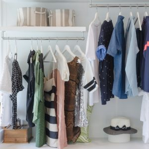 A neat and tidy decluttered closet