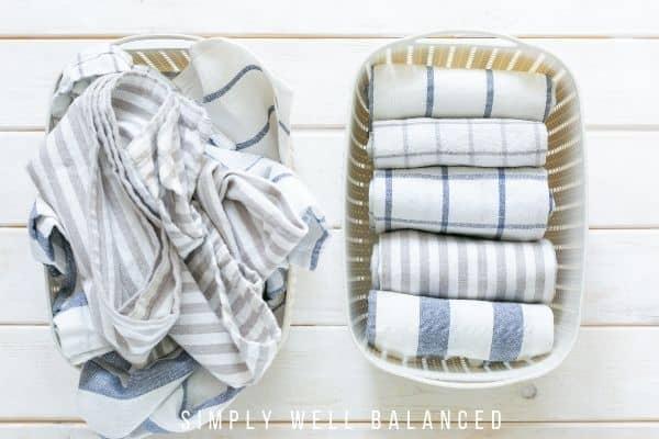 KonMari method folded kitchen towels.