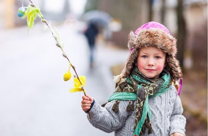 Little girl celebrating easter in Poland
