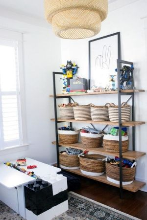 Playroom bookshelves toy storage
