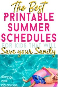 Printable Summer Schedules for Kids