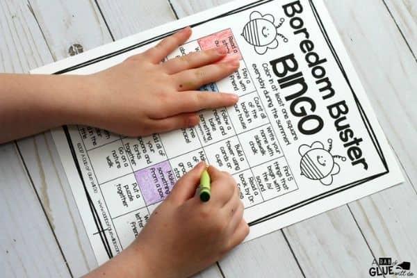 Summer Boredom Buster Bingo for Kids