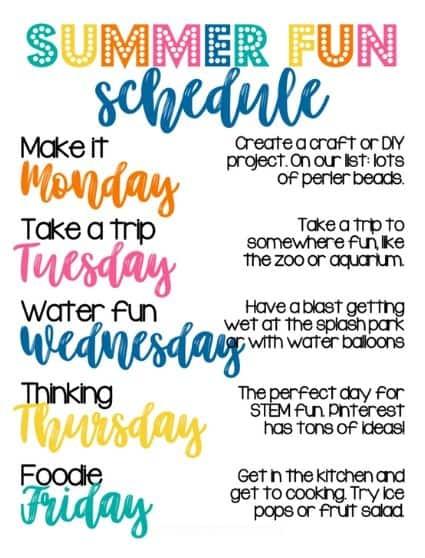 Fun Summer Schedule for Kids.