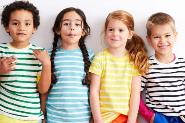 Primary clothing review: Children wearing primary.com striped shirts.