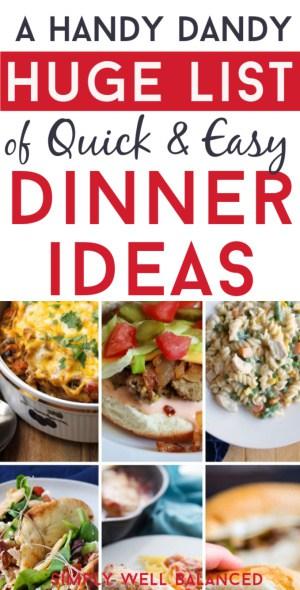 Huge List of Meal Ideas