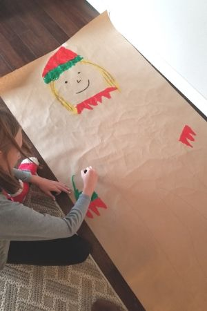 elf yourself christmas craft for kids - body tracing art