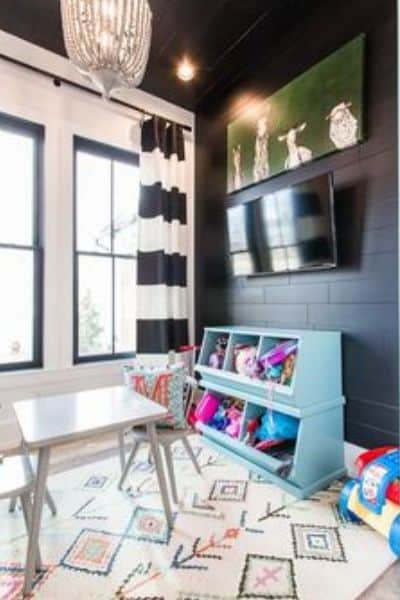 Modern Glam Black and White Playroom