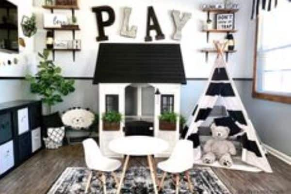 Cottage Farmhouse Playroom - black and white