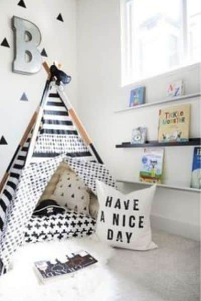 Toddler playroom teepee and reading nook
