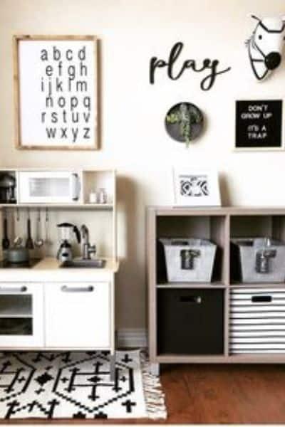 Modern black and white playroom