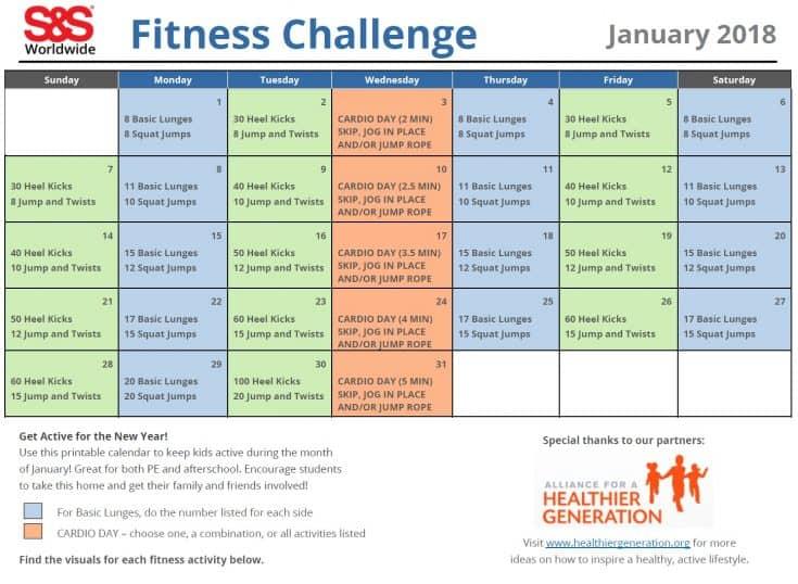 A Printable Fitness Challenge Calendar