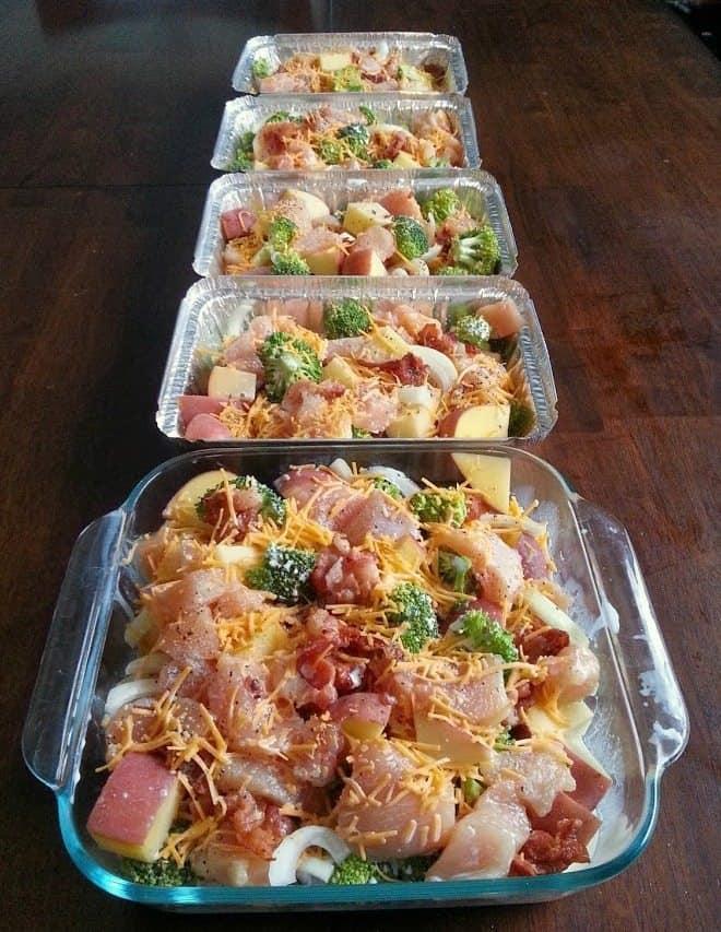 Freezer Meals - Chicken, Broccoli, Bacon and Potato Bake