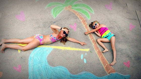 13 Creative Kids' Portraits Made Amazingly Cool With Sidewalk Chalk