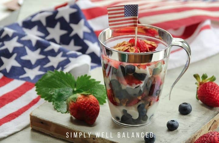 No bake, red white and blue parfait dessert