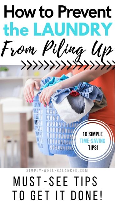 How to prevent the laundry from piling up with photo of woman holding laundry basket