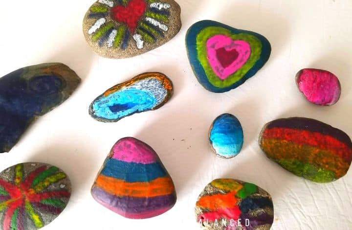 Melted crayon rock art activity for kids