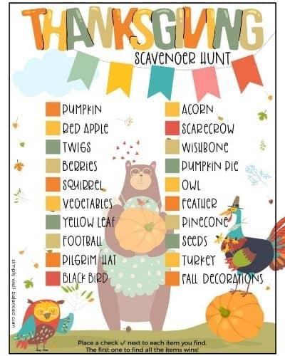 Printable Kids Thanksgiving Scavenger Hunt