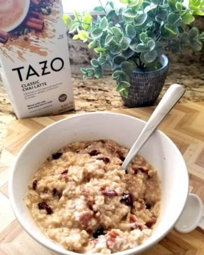 Chai Spiced Oatmeal with Dried Cherries and Pecans