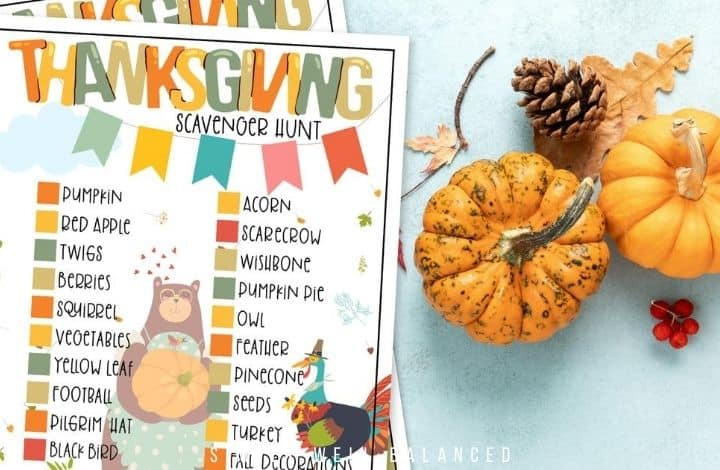 Kids Thanksgiving Scavenger Hunt Checklist