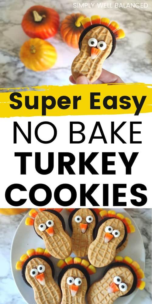 Easy no bake nutter butter turkey cookies