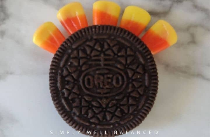 oreo cookie with candy corn turkey feathes