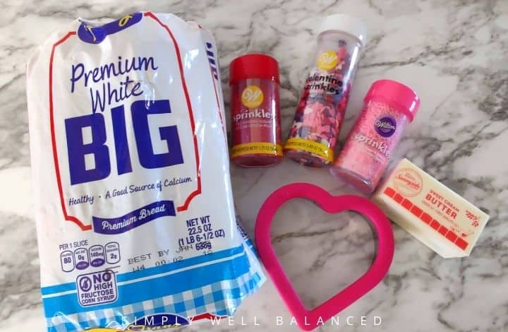 Ingredients for Valentine's Day Fairy bread