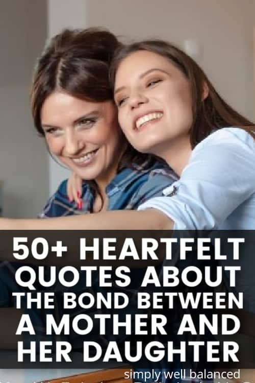 Daughter hugging her mother. Text: 50 heartfelt bonding mother daughter quotes.