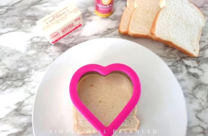 Use a heart shaped cookie cutter to remove crust from bread