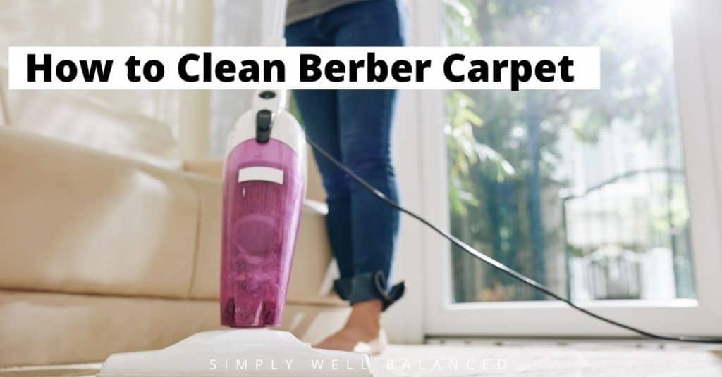 How to clean berber carpet. Image of woman cleaning berber carpet in living room.