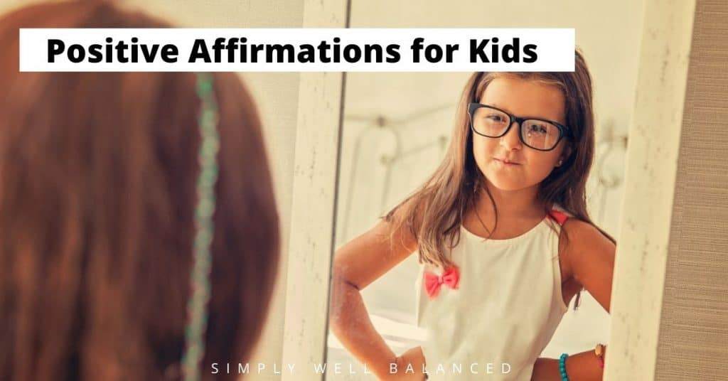 Positive Affirmations for Kids. Child looking confident in front of mirror.