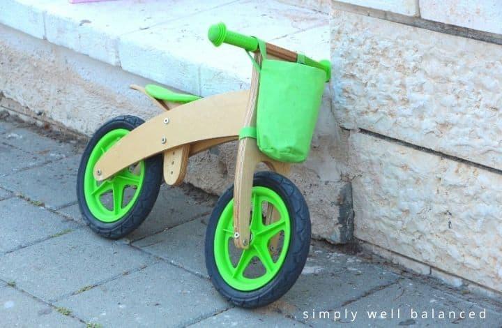 Wooden toddler balance bike