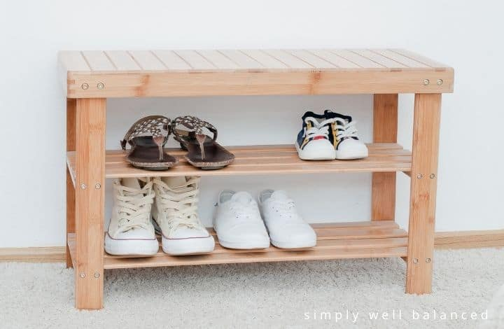 A bench for storing and organizing shoes.