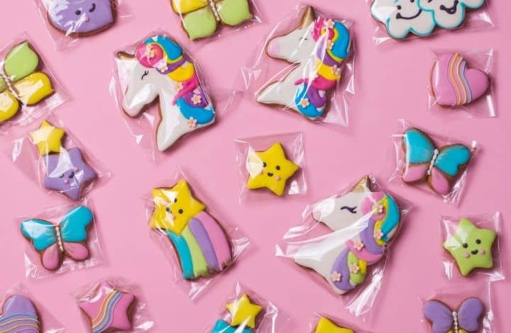 Individually wrapped birthday cookies.