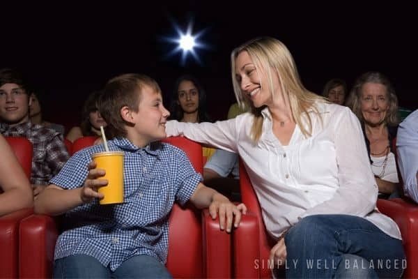 Mother and son at the movies