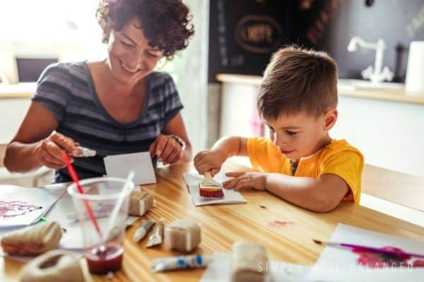 Mother and son painting together | Date night ideas for moms and sons